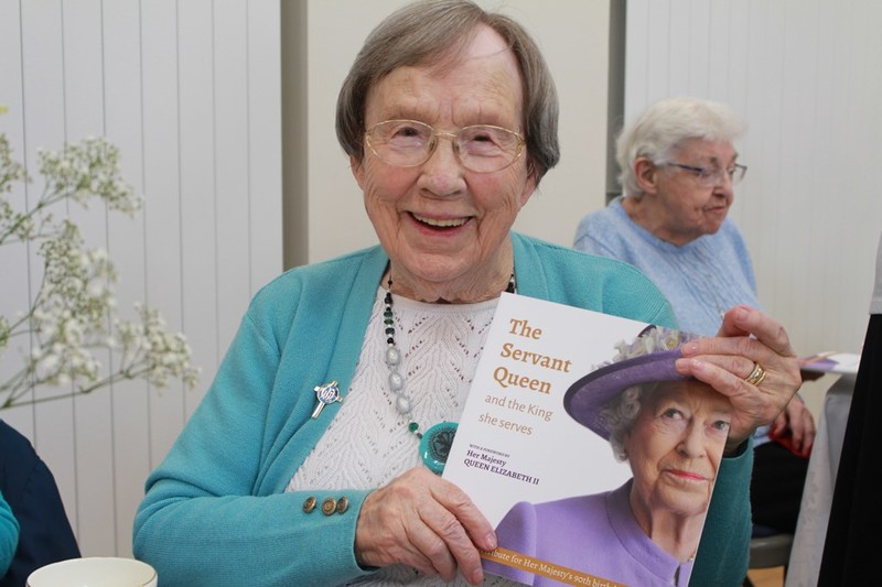 Lily Foster 92 St Finnians with her book