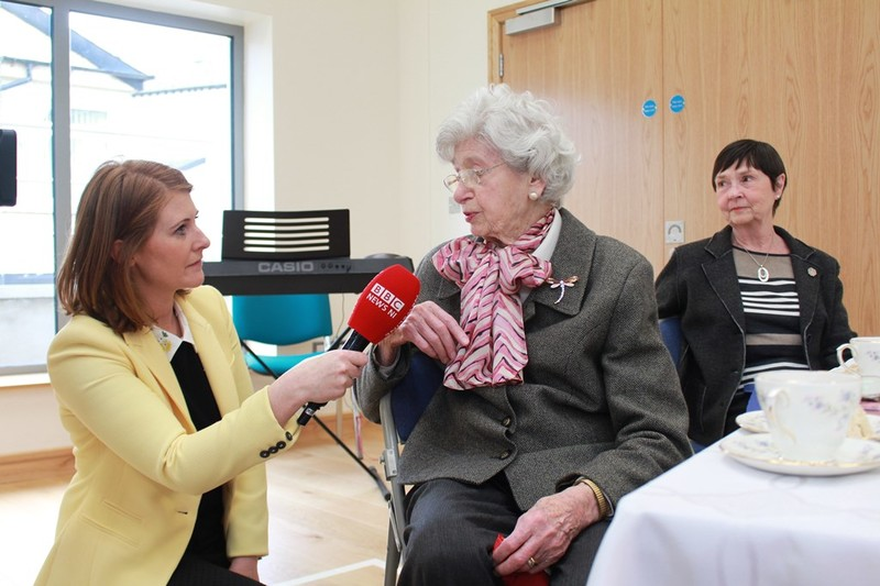 Pat Rebbeck 93 Holywood is interviewed by the BBC