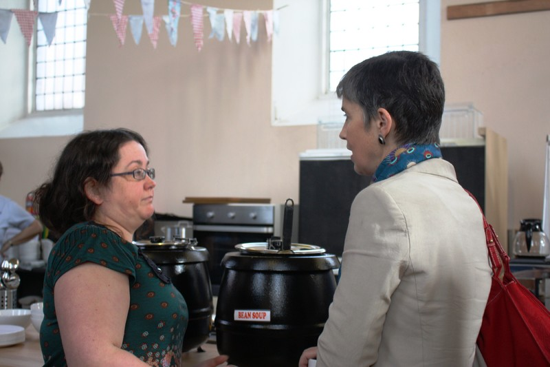 Mrs Welby chats at St Christophers Community Kitchen