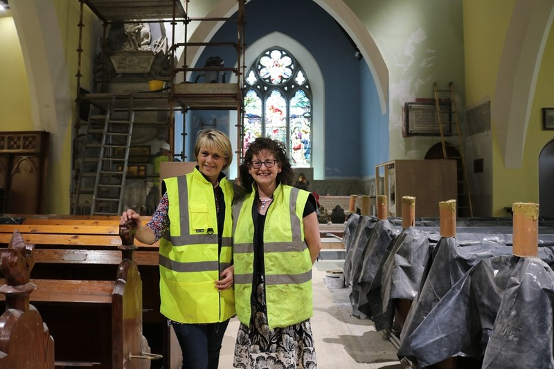 Shelagh  and Pauline in the midst of the building work