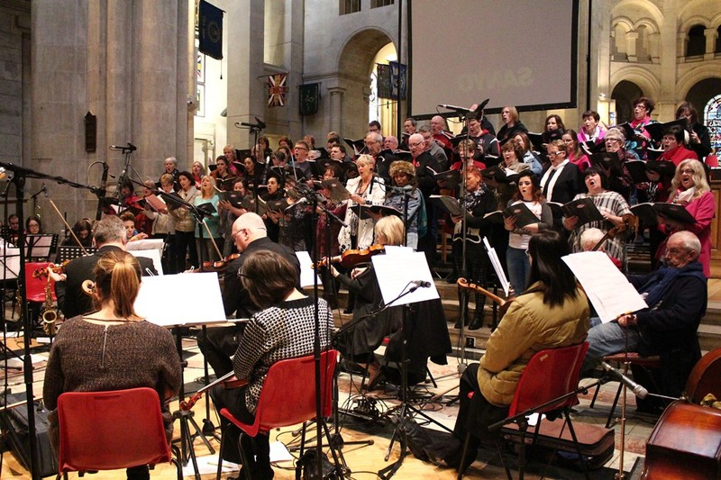 Choir and orchestra in rehearsal