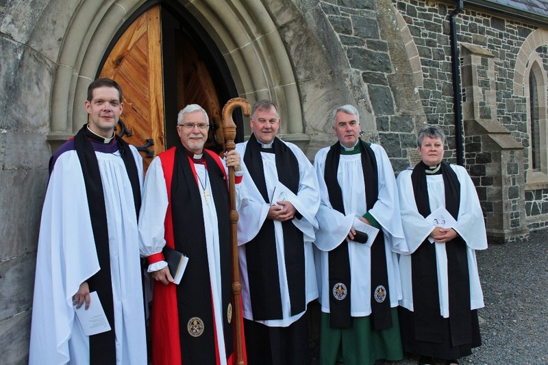 Revd Simon Richardson, Bishop Harold, Revd Graham Spence, Archdeacon David McClay and Revd Gilian Withers