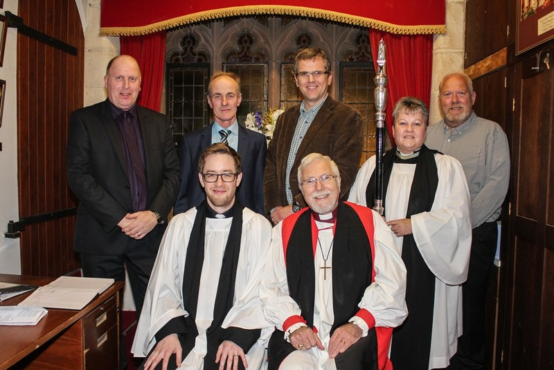 Churchwardens, Bishops Chaplain Revd Gillian Withers, Revd Simon and Bishop Harold