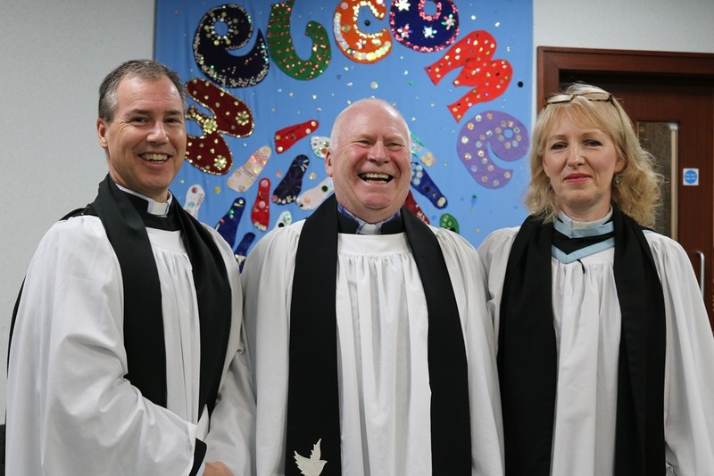 Adrian with his curates, Revds Jeremy and Jacqueline Mould