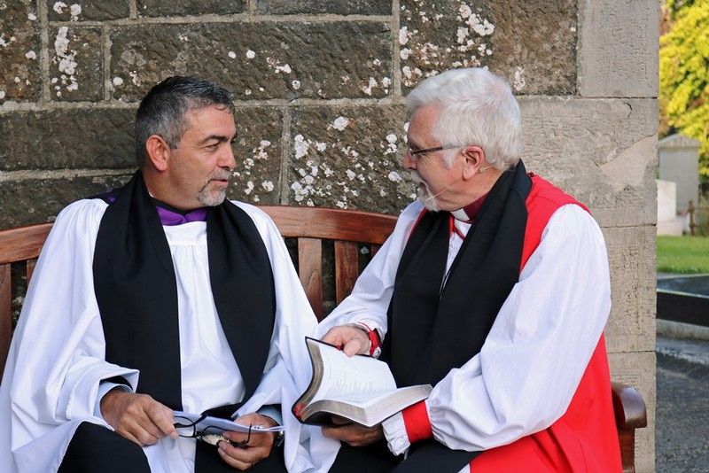 A chat with the Bishop before the service