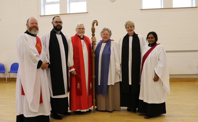 Deacons with Bishop Harold and preacher, Dr Christina Baxter
