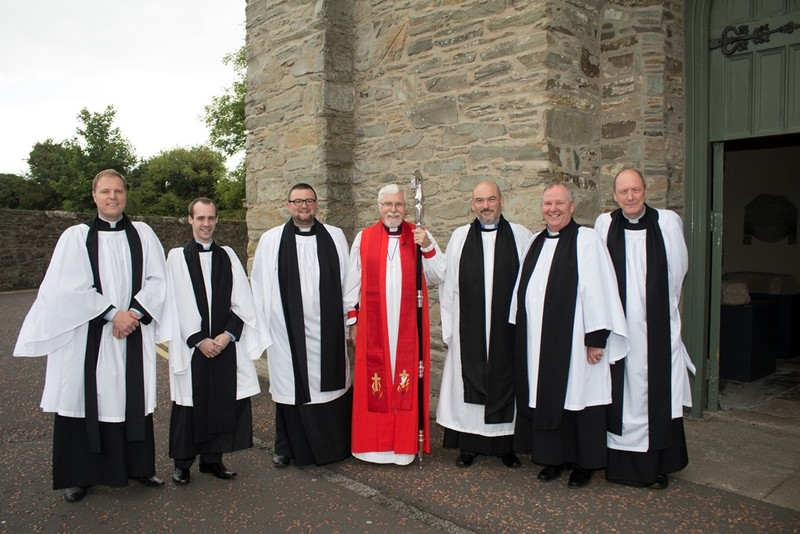 Revds Bill Donoghue, Raymond Kettyle, Peter Munce, Robert Smyth, Colin Taylor and Scott McDonald with Bishop Harold