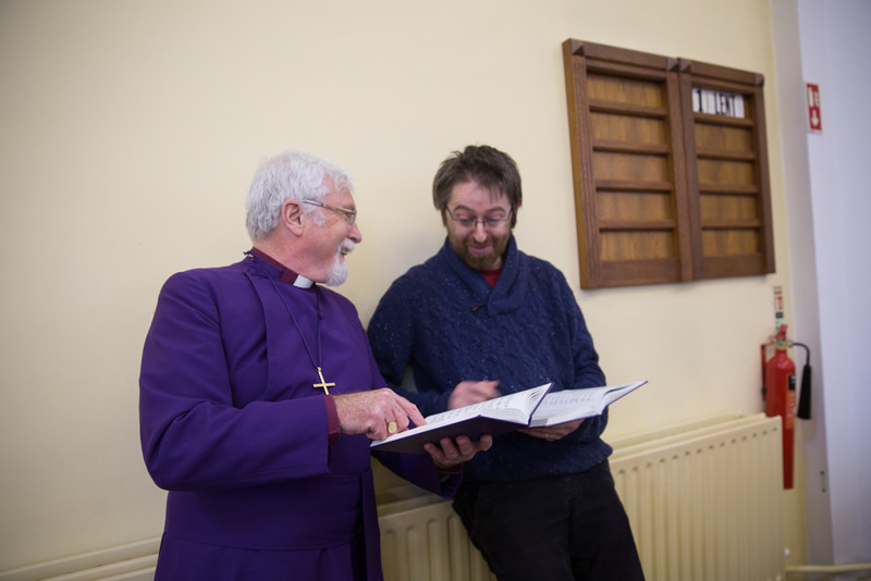 Bishop Harold talks hymns with organist Robin Crocket