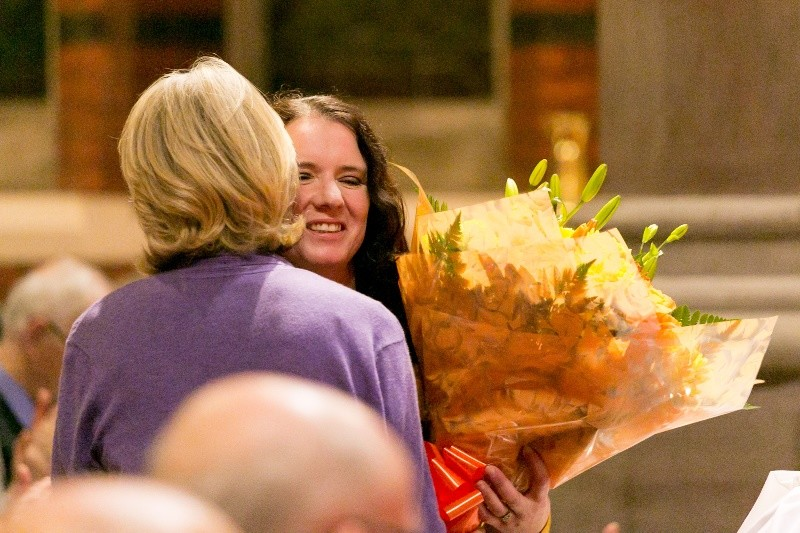 Ruth Harron receives flowers