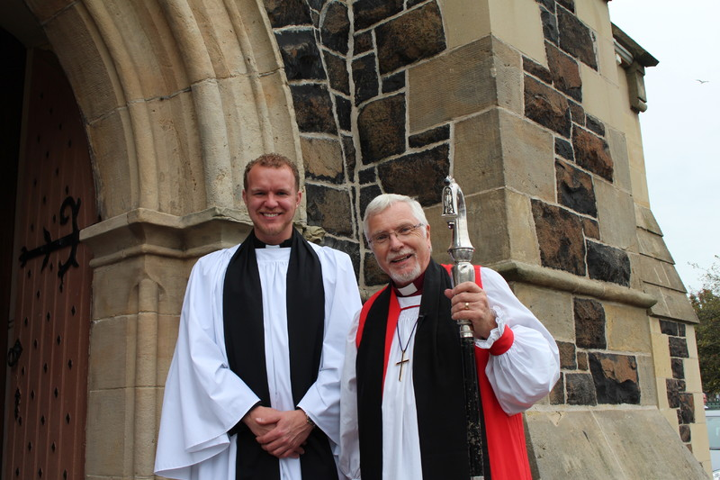 Sam Johnston with Bishop Harold