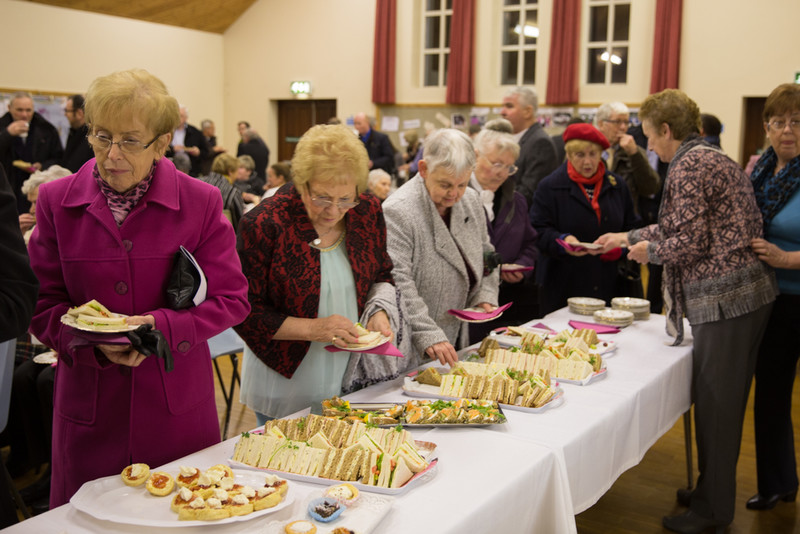 Supper being served in the Cathedral Hall