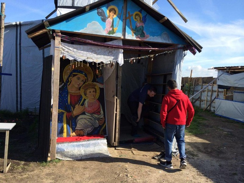 Multi denominational church in Calais Jungle