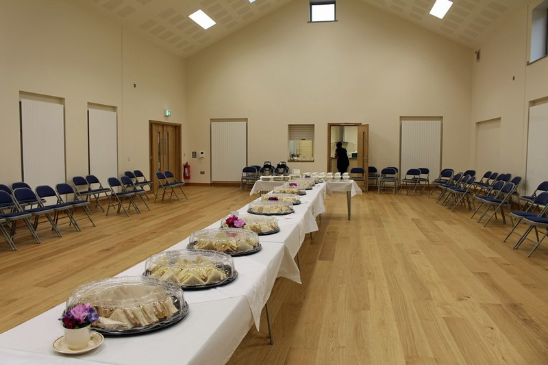 The hall is set for tea