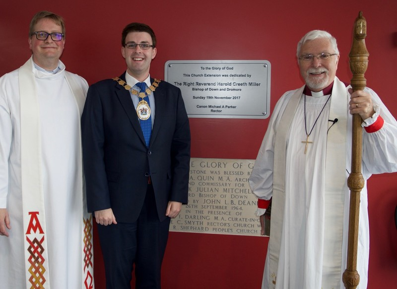 Canon Parker and Bishop Harold with Robert Adair, Mayor of North Down and Ards