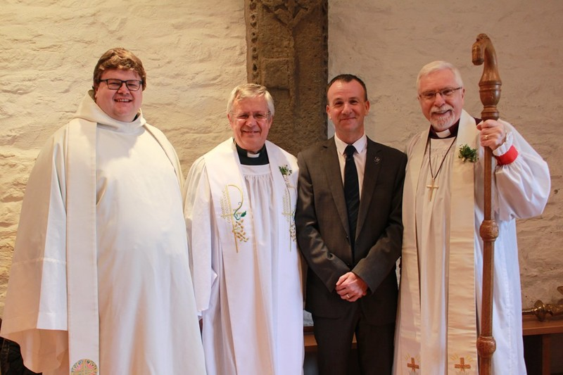 Revd Adrian Dorrian LAMP with the Dean, Bishop and George