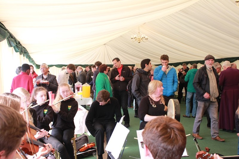 Stew and apple tart served in the marquee