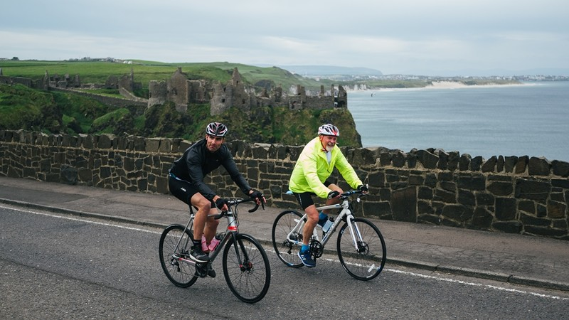 Cruising past Dunluce Castle